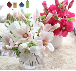 Wedding Party Decor Silk Artificial Magnolia Artificial Flower Bush Fake Flowers For Home Party Wedding New Year Christmas Decoration
