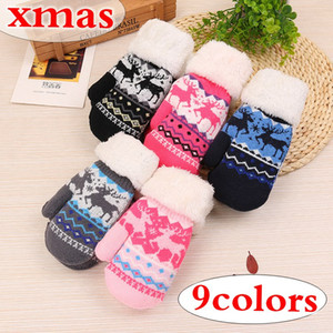 XMAS Christmas Kids Unisex Winter Thickened Plush Lined Full Finger Gloves Cute Christmas Printed Candy Color Mittens Wrist Warmer 3-12T