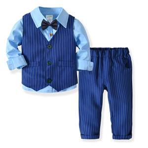 Wholesale Gentleman Style Newborn Baby Boys Clothing Set Long Sleeved Striped Cotton Shirt Vest bow tie Pant Suit Kids Outfits HB004