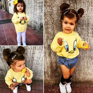 Wholesale New Style Spring Autumn Yellow Duck Hoodies Kids Baby Girl Boy Cartoon Loose Top T shirt Sweatshirt Casual Long Sleeve Clothes