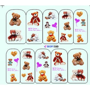 Wholesale UPRETTEGO NAIL ART WATER DECAL SLIDER NAIL STICKER CARTOON TOY BEARS SWEET HEATS SNAKE TIGER SKIN BOP180