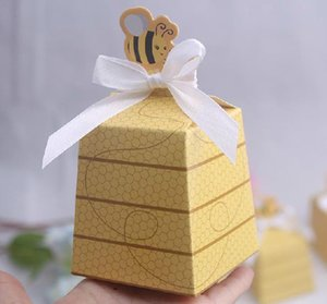 Wholesale 100 European Yellow Bee Style Baby Shower Birthday Party Wedding Favors Candy Boxes Gift Box with White Ribbons