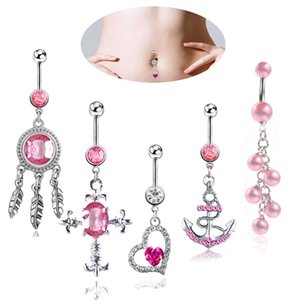 Wholesale 5PCS Luxury Surgical Steel Body Jewelry Belly Button Piercing Kewelry kit Crystal Anchor Heart Cross Navel Nail Navel Rings set