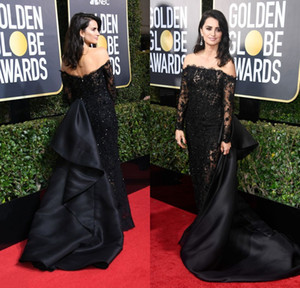 Wholesale gold globe resale online - 2018 Penelope Cruz th Annual Golden Globe Awards Red Carpet Celebrity Dresses Black Lace Evening Gowns with Detachable Train Arabic