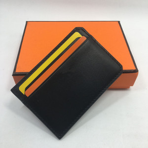 Wholesale Black Genuine Leather Card Case Men Thin Card Wallet Business ID Credit Cards Holder Women Cards Pack Cash Pocket Cardholder Coin Purse