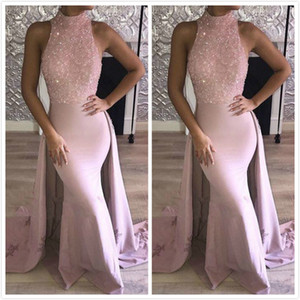 Free Shipping Vintage Satin Beaded Applique Halter Guest Dress Evening Dress Elegant Pink Stunning Train Party Prom Dress on Sale