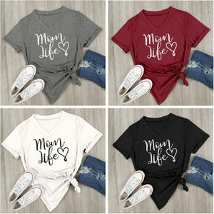 4 Color Mom Life Heart V Neck Short Sleeve Letters Printed Casual Loose T Shirt top Tee Maternity Tops LC886-1