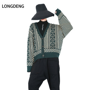 Wholesale LONGDENG Streetwear V Neck Full Sleeve Single Breasted Cardigans Flat High Elastic Knitted Women Sweaters Fashion
