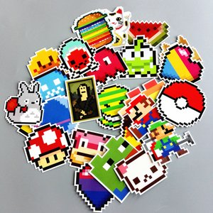 Wholesale 25Pcs Cartoon Pixel Style Image Sticker For Car Laptop Luggage Skateboard Cup Bottle Notebook Decals Patches Children Kids