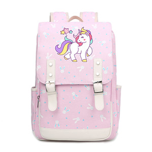 Cartoon unicorn colorful school bags for Students cute backpacks Children for Teenager Girls canvas Teenangers  FT