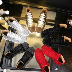 Wholesale 2017 men women rhinestone high top shoes famous designer brand red bottom Sneakers mens loubbis shoes with box and dustbag