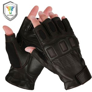 Wholesale OZERO Half Finger Motorcycle Gloves Leather Goatskin Motocross Motorbike Biker Riding Gym Racing Hand Moto Gloves Summer