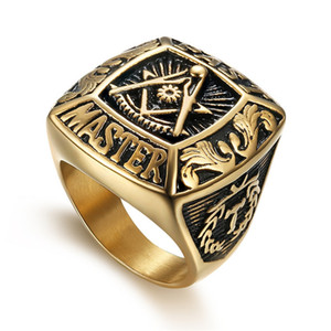 Wholesale jewels for men resale online - 316 Stainless Steel High quality Fashion unique style Gold Past Master symbol Masonic ring for men free mason freemasonary signet ring Jewel