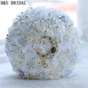Wedding Decoration Bridal Bouquets de mariage Pink Ivory 2018 Artificial Wedding Bouquet Crystal Sparkle With Pearls