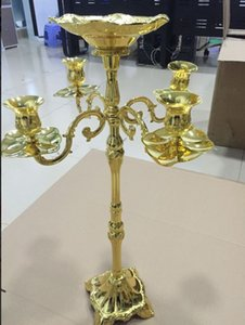 Wholesale Modern golden plated arms floor candelabra cm height wedding candle holder centerpiece candle stick MYY