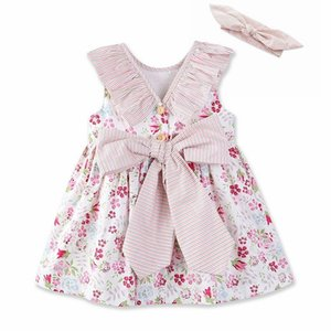 Wholesale Vieeoease Girls Dress Flower Kids Clothing Summer Fashion Sleeveless Vest Bow Princess Party Dress with Headband EE