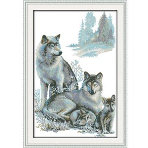 Wholesale A wolf family Patterns DIY Handmade Counted Cross stitch kit and Precise Stamped Embroidery set Needlework DMC ct and ct