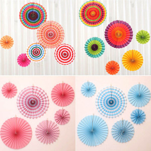 Wholesale decorative household for sale - Group buy HOT set wedding decoration paper fan flowers handmade paper folding fans for party celebration shop window festival household decors