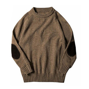 Wholesale New Fashion Mens Classic Boyfriend Solid Crew Neck Knitted Thick Pullover Sweaters
