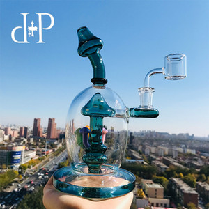 Wholesale PlusPlus Glass Bong Water Pipe T Mad Mushroomery Unique Teal Lake Green color heady art pipe with percolator quot Height mm Female