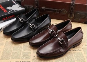 Wholesale men genuine leather shoes luxury handmade loafers slip on italian brand designer male dress shoes big size38 h52