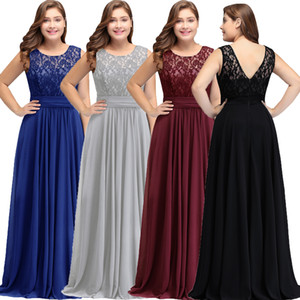 Wholesale New Simple Modest Dark Navy Chiffon Bridesmaid Dresses Plus Size 2018 Cheap Scoop Sleeveless A Line Formal Wedding Guests Party Wear CPS526