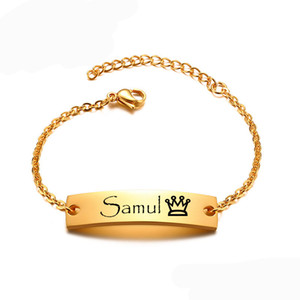 Personalized Adjustabel Name Bar Bracelet Baby Baptism Gift Stainless Steel Custom Name Bar Bracelet Gold Silver