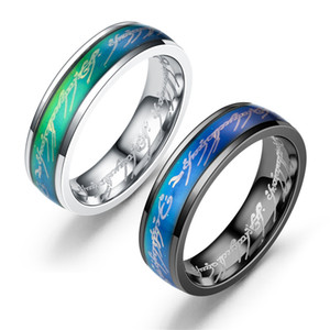 Wholesale 6mm mood ring The Lord of the rings man s temperature changing titanium steel mood ring size