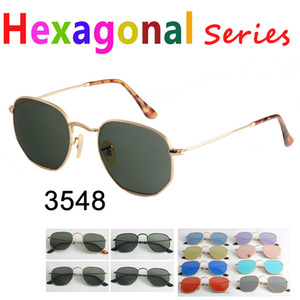Wholesale Real quality Hexagonal Metal brand sunglasses flat glass lenses colors available with packages everything pink mercury silver green