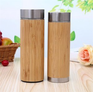 Wholesale 2018 Creative bamboo water bottle vacuum insulated stainless steel cup with lid Tea strainer wooden Straight cup DHL FEDEX
