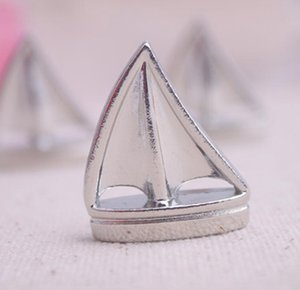 Wholesale Theme Place Card Holders Sail Boat Silver Beach Table Number Cards Clips Picture Name Frame Wedding Supplies