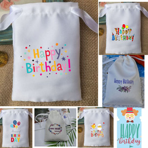 Wholesale Happy Birthday Favor Bag x10cm x12cm x15cm x17cm pack of Silk Stain Makeup Jewelry Drawstring Pouch