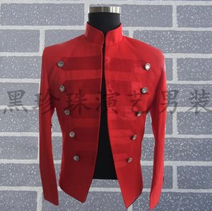 Wholesale Men Red Suits Designs Personalized Stage Costumes For Singers Men Sequin Blazer Dance Clothes Jacket Star Style Stand Collar