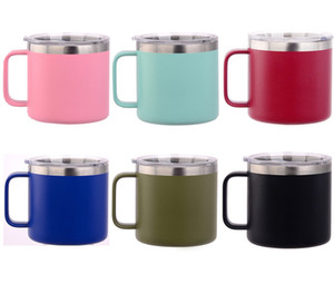 10 colors 14 oz stainless steel coffee Cup Vacuum Double layer Beer Mugs Insulated 14oz Cups With Lid 10-Colors by DHL free shipping