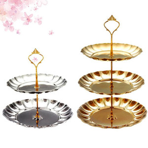 Wholesale stainless bathroom shelves for sale - Group buy 2 Layers Fruit Plates Stand Pastry Tray Candy Dishes Cake Desserts Stainless Steel Party Home Decoration Wedding Decorations