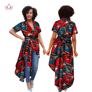 Summer Dress for Women Short Sleeve Trench Women Maxi Outwear Trench Coat Dashiki African Print Bazin Riche Clothes 6XL WY1595 on Sale