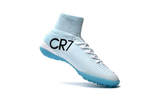 Wholesale White Blue CR7 Kids Indoor Soccer Shoes Mercurial Superfly TF Womens Soccer Cleats High Ankle Top Quality Children Football Boots