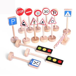 Wholesale traffic signs for sale - Group buy New Colorful Wooden Street Traffic Signs Parking Scene Kids Children Educational Toy Set For Kids Birthday Gift