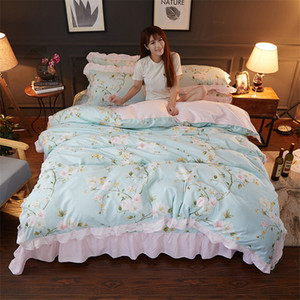 New Korean pastoral flower print blue bedding sets princess pink ruffle lace douvet cover beding wrinkle bedspread home textiles