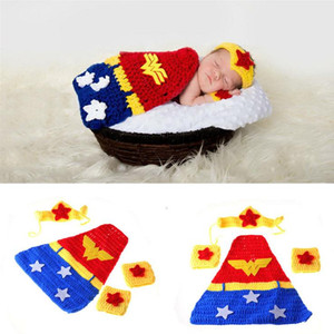 Wholesale Baby Photography Props Newborn Baby Girl Boy Crochet Knit Costume Photo Photography Prop Caps Hats Outfits