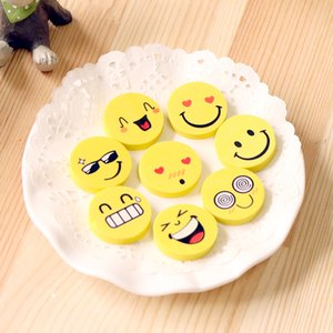 Wholesale New Mini Cute Cartoon Kawaii Rubber Smile Face Emoji Eraser For Kids Gift School office Supplies