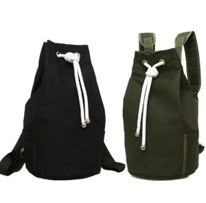 Wholesale Casual Men Canvas Backpack Large Capacity Barrel Backpack Army Green String Drawstring Daypack for Men Back Pack Backpacks Q179