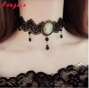 Wholesale Womens Gothic Alloy Victorian Lady Head Black White Cameo Bead Drop Pendant Ribbon Choker Chunky Necklace Collar Vintage Retro
