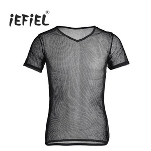Wholesale spandex iEFiEL Hot Mens Mesh See Through Clubwear Tank Vest Spandex Gay Men Shirt Underwear Summer Vest Sexy See Through Shapers