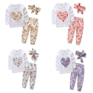 Wholesale Newborn Girls Floral Outfits Flower Heart Applique Embroider Tops Pants Headband Baby Kids Designer Clothing Sets Spring Autumn M T