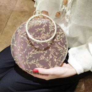 Wholesale Dinner party handbag female sequines leaves designer clutches bag for woman royal blue beige YH013 diamonds embroidery clutches