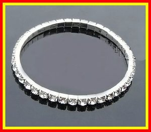 Stock Silver Rhinestone 1 Row Stretch Bangle Junior Prom Homecoming Wedding Party Jewelry Bracelet Bridal Accessories