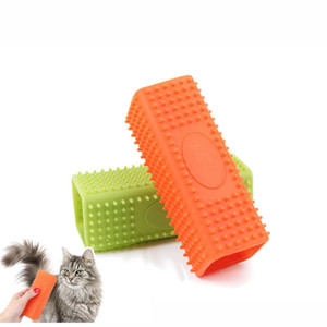 Wholesale Square Silicone Puppy Depilation Comb Convenient Eco Friendly Pet Hair Remover Brush Easy To Use Dog Grooming Tools Green Orange sh T
