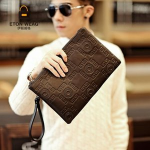Wholesale Factory direct brand men bag fashion embossed leather business hand clutch casual leather men envelope bag large capacity mens storage walle