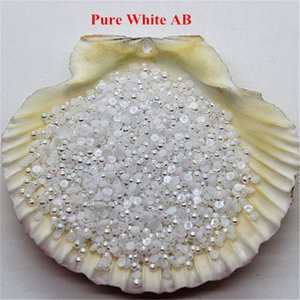 Wholesale 3000pcs Pure White AB Resin ABS Fake Half Pearls For Nails Round Glier Beads Flat back Nail Art Decoration Accessories
